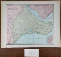 "Vintage 1900 CONSTANTINOPLE ISTANBUL TURKEY Map 14""x11"" ~ Old Antique ETILER"