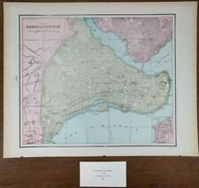 "CONSTANTINOPLE ISTANBUL TURKEY 1900 Vintage Atlas Map 14""x11"" Old Antique ETILER"
