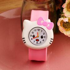 Boys Girls Children Kids Cartoon Slap Snap On Silicone Wrist Watch Gift Kiti-cat