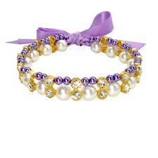 2 Rows Pearls Dog Necklace with Rhinestone&Ribbon Pet Collars Blue Purple Pink