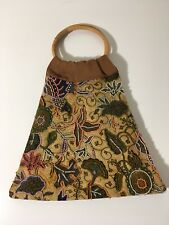 Gorgeous Floral Vintage Handmade Beaded Cane Handle Mini Tote Bag