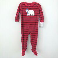 NEW Carters Pajamas Footed Fleece Sleeper Red Striped Christmas Polar Bear 18 Mo