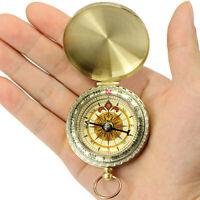 AU_ IC- KQ_ FP- BL_ Vintage Brass Noctilucent Pocket Luminous Compass Hiking Cam