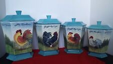 Certified International Susan Winget Rooster Multi Color Canisters Set Of 4