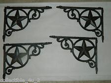 "Set/4 ~9"" Rustic Cast Iron Western Star  Shelf Support Wall Brackets Lodge Decor"