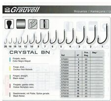 PORT GRATIS 20 HAMECON CARBONE GRAUVELL type crystal N° 1 peche au vers anguille