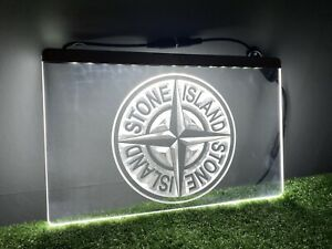 STONE ISLAND Home Bar UK Light Mancave Neon LED Sign Plaque Clothes Mens Gift