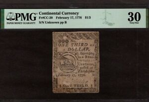 Continental Currency, CC-20, $1/3 Dollar, PMG 30, Pinholes