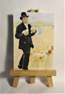 Man walking dogs ACEO Original PAINTING a Ray Dicken a Jean Francois Raffaelli