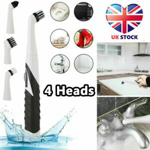 UK Sonic Scrubber Electric Cleaning Brush Ultrasonic Dust Cleaner with 4 Heads