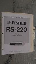 Fisher rs-220 service manual original repair book stereo receiver tuner radio