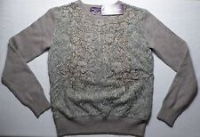 $2,995 Ralph Lauren Purple Label Women's Cashmere Sweater SMALL Gray Lace NWT