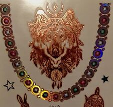METALLIC TEMPORARY WOLF TRIBAL DEER EAGLE MANDALA FESTIVAL 3D HOLOGRAPIC  TATTOO