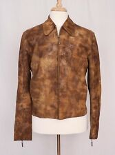 Roberto Cavalli Just Cavalli Patterned Brown Suede Leather Jacket EU 48 $1350