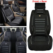 Linen Fabric Car SUV Seat Cover Cushion 5-Seats Front + Rear w/Pillows Universal