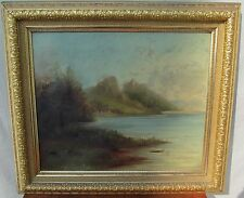 LATE 19TH CT OIL ON CANVAS MAINE SHORELINE PAINTING IN FROST & ADAMS FRAME