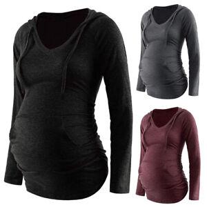 UK Women Maternity Hoodies Pregnant Breastfeeding Nursing Long Sleeve Top Jumper