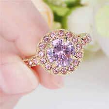 Ladies Womens Rhodium Plated Round Gemstone Pink Sapphire Gold Dress Ring P - P½