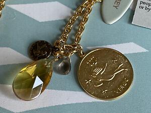 "NWT David Aubrey Virgo Gold Charm Necklace w Double Crystal Drops In Box 28"""