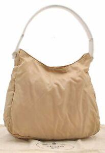 Authentic PRADA Nylon Hand Bag Cream B3639