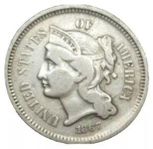 1867 US End of Civil War Era 3 cent Nickel Three Cent threecent Old Coin