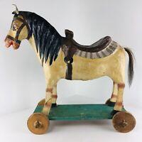 Antique Folk Art Papier-Mâché Horse Primitive Handcrafted Painted Pull Toy