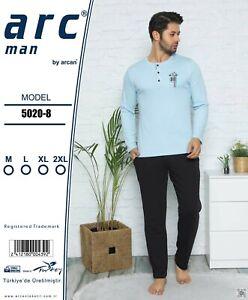 Men Long Sleeve Homewear Sleepwear 100% cotton Pajama set 2 PCS sizes M to 2XL