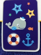 New Bananafish Navy Blue Whale Anchor Plush Baby Blanket Just My Style