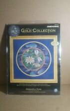 "Dimensions Gold Collection DRAGONFLY POND Cross Stitch New 12"" Diameter"