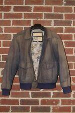 ☆Vtg BLUE Men's Global Identity G-III Leather Bomber Jacket Coat Size M Lined☆