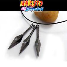 Anime NARUTO Ninja Kakashi 3 Konoha Kunai pendant metal Necklace cosplay gift