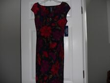 CHAPS  RED BLUE  PURPLE FLORAL  RUCHED DRESS PS