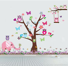 wall stickers owl scroll tree elephant bird decor kids removable PVC art decal