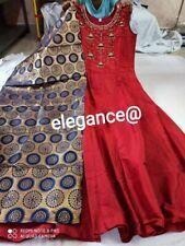 Beautiful Maroon Long Kurti Gown With Blue Dupatta Size XL