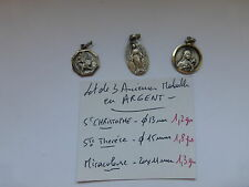 lot de 3 medaille Argent  St Christophe / St Therese / Miraculeuse . France 1950