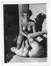 Nude Original Photo Busty Female Model Vintage 1950's B&W Pinup Print J1.21