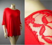 Bold Red Lace Batwing Sleeve Casual Lounge Jersey Top 144 mv Blouse 1X 2X 3X
