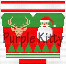 Santa and Reindeerhead Stocking Pattern - Vintage Grace Ennis #6204C