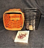 1996 Longaberger Small Square Woven Spoon Basket Combo Protector + Basket EUC