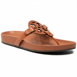 Tory Burch Miller Cloud Sandals Aged Camello Leather Sz 6.5 New W Box FREE SHIP