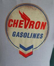 CHEVRON GASOLINES SIGN  & BLUE WHITE & RED LOGO MED TSHIRT GRAY RED VELVET PRINT
