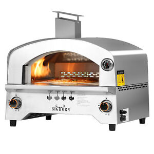 Big Horn 2 Burner Portable Stainless Steel Propane Steak Beefer Gas Pizza Grill