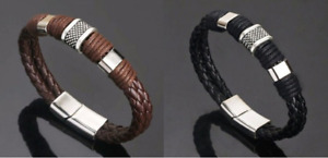 Black / Brown Braided Leather Silver Stainless Steel Cuban Chain Men's Bracelet