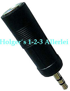 Klinke Adapter Stereo 3,5 Stecker auf 6,3 Buchse