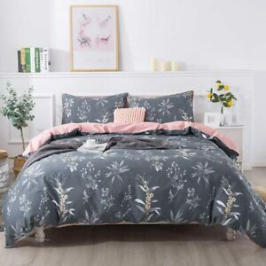 FADFAY Green Leaves Duvet Cover Set Premium 100% Cotton Daisy and Lavender Flowe