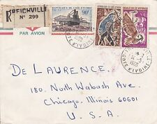 BD810) Ivory Coast 1968 nice registered airmail cover to USA