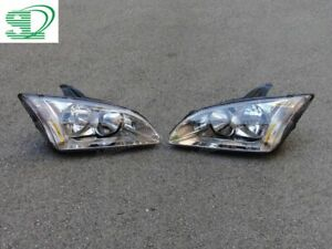 Pair Front Left & Right Headlight Head Lamps For Ford Focus 2005-2007