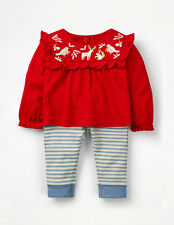 NWT Mini Baby Boden Red Embroidered Jersey Playset deer brids Christmas
