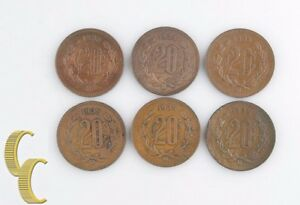 1935-Mo Mexican 20 Centavos Lot (VF-AU, 6 coins) Mexico City Veinte 20c KM-437