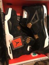 Air Jordan 4 Retro Royalty Black/Metallic Gold-White Shoes 308497 032 Size 12